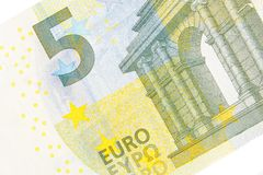 New five euro banknote front side. Detail of new five euro banknote front side on white background Stock Photo