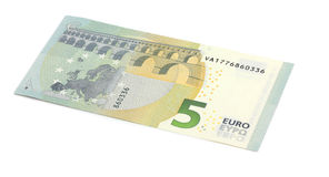 New five 5 euro banknote greenback. Isolated Stock Photography