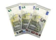 New five 5 euro banknote greenback paper money. Isolated Stock Photography
