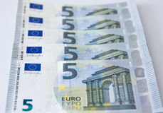 New five euro banknote money bank Royalty Free Stock Images