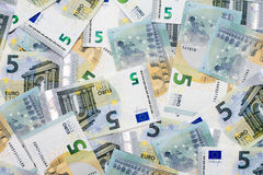New five euro banknotes Stock Image