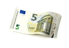 New five Euro bill isolated Royalty Free Stock Photos