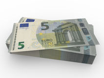 New five euros banknotes stacked Stock Photography