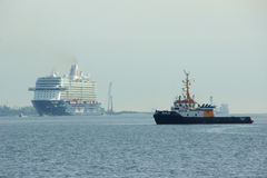 The new flag ship `Mein Schiff 6` from Tui Cruises makes it first call to the Port of Kiel Stock Photos