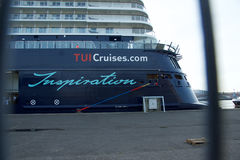 The new flag ship `Mein Schiff 6` from Tui Cruises makes it first call to the Port of Kiel Royalty Free Stock Photos