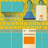 New Flat Design Kitchen. Interior artwork. Vector illustration Royalty Free Stock Photo