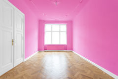 New flat in old building - empty room. Real estate interior - empty pink room Royalty Free Stock Photos