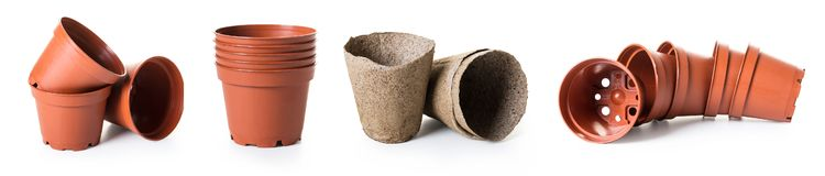 New flower pots, photo set. On white isolated background stock images