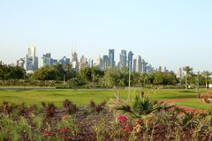 New flowerbeds in Bidda Park, Qatar. BIDDA PARK, Doha, Qatar - March 21, 2018: View of the freshly laid flowerbeds in the new park in Qatar`s capital stock images