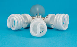 New fluorescent light incandescent heat bulb Royalty Free Stock Image
