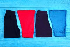 New folded cotton shorts for kids. Stock Images
