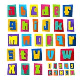 New font, cut colorful letters lower case. New font, cut colorful letters on a colored paper sheets with shadow, lower case stock illustration