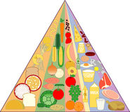 New Food Pyramid Chart. Graphic representation of the new food pyramid chart with the vertical columns Royalty Free Stock Photography