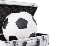 New football in open suitcase Royalty Free Stock Image
