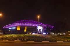 The New Natanya football stadium illuminated at night. The new football stadium illuminated at night view from west in Nenatnya that will host the UEFA 2013 Stock Image