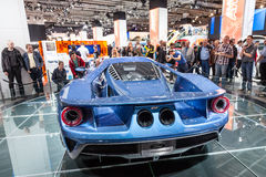 New Ford GT at the IAA 2015. FRANKFURT, GERMANY - SEP 22: New Ford GT Ssports Car at the IAA International Motor Show 2015. September 22, 2015 in Frankfurt Main stock images