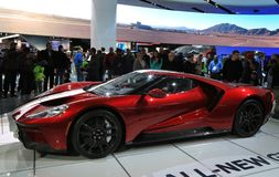 New 2018 Ford GT supercar on Display at the North American International Auto Show Stock Image