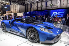 The New Ford GT Supercar. The new Ford GT 40 on show at the Geneva Motorshow, Switzerland Royalty Free Stock Photos