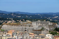 New fortress and old buildings Corfu town Stock Photography