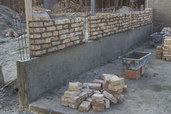 New foundation brick wall, building and construction concept 2 Royalty Free Stock Image