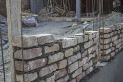 New foundation brick wall, building and construction concept Stock Images