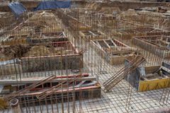 New foundation and steel reinforcement rods Stock Image