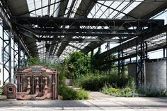 The new foundry garden under the old naves. stock photo