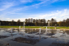 New fountain Eternity Belarus Minsk. Nice new fountain Eternity and Komsomol lake panorama renovated Victory Park Belarus Minsk stock photography