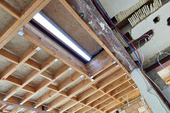 New frame for ceiling roof in construction Royalty Free Stock Photography