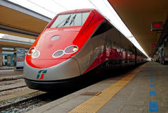 New Frecciarossa train at the station in Turin. TURIN, Piedmont, ITALY: New Frecciarossa train at the station on October, 2010 in Turin Royalty Free Stock Images