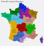 New French regions. Nouvelles regions de France. Separated departments Royalty Free Stock Images