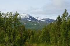New fresh white snow on jagged mountain top in the arctic circle summer. New fresh white snow on jagged mountain top in the late arctic circle summer Stock Images