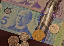 New Frontier Canadian Currency, with Coins Stock Images