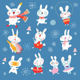 New funny rabbits. Funny white rabbits on a decorative blue background Royalty Free Stock Photos