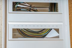 Installation of a new fuse box. New fuse box not yet wired royalty free stock image