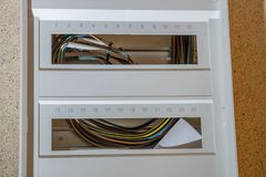 Installation of a new fuse box. New fuse box not yet wired royalty free stock images