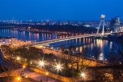 New Futuristic Bridge in Bratislava Stock Photo