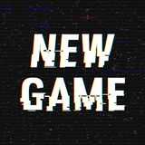 New Game glitch text. Anaglyph 3D effect. Technological retro background. Vector illustration. Creative web template. Flyer, poster layout. Computer program stock illustration