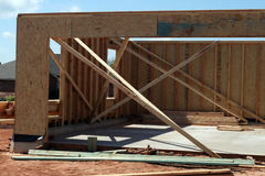 New Garage. A new garage being built, showing the framework inside the structure Stock Images