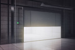 New garage with opening door side. Side view of new tile interior with illuminated opening garage door. Mock up, 3D Rendering royalty free illustration