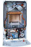New gas boiler without front cover Stock Photo