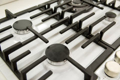 new gas burner cooker closeup Stock Photo