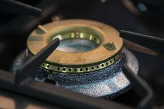 Gas burner gas stove in the kitchen. New gas burner gas stove in the kitchen stock photos