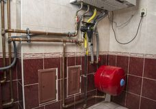 New gas condens boiler for heating and hot water stock images