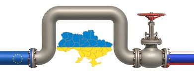 New gas pipeline from Russia to EU bypassing Ukraine, 3D rendering. Isolated on white background royalty free illustration