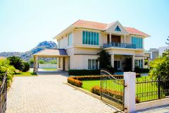 New Generation Concrete House at Ramoji Film Studio. Film Set Stock Photo