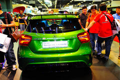The new generation of the Mercedes-Benz A-Class on display during the Singapore Motorshow 2016 Stock Images