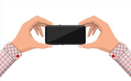Hands hold mobile phone. New generation smartphone with frameless edge display. Hands hold mobile phone. Phone electronic device with touchscreen. Vector Stock Photos