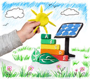 New generation that thinks of the photovoltaic Stock Photography
