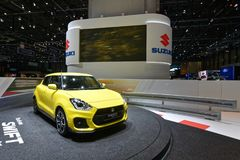 88th Geneva International Motor Show 2018 - Suzuki Swift. The new generation of the world`s most widely sold Suzuki. Its new Heartec platform makes the vehicle royalty free stock images